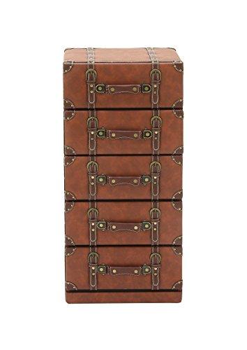Deco 79 55771 Wood Leather 5 Drawer Dresser, 16 W 35 H