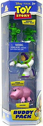 Disney / Pixar Toy Story Buddy Mini Figure 3-Pack Green Army Men, Action Buzz Lightyear and Hamm