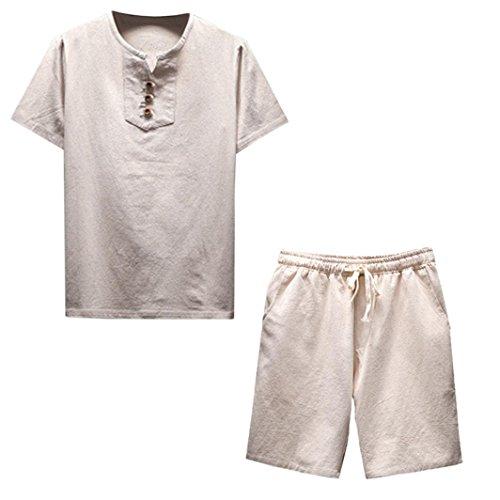 NEARTIME Clearance! ❤️ Men Shirt Set, Summer Plus Size Short Sleeve Comfy Linen Soft Blouse Casual T-Shirt Top + Shorts Pants (XL, Khaki)