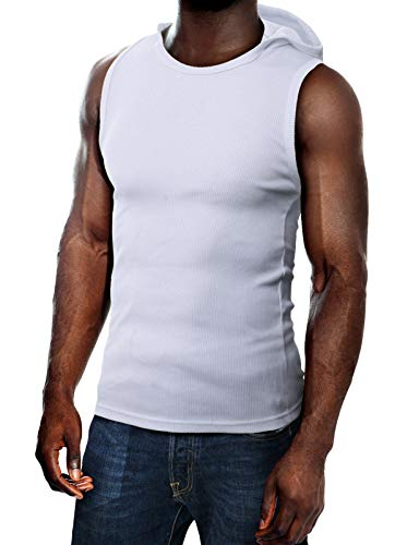 H2H Mens Cotton Hooded Sleeveless T-Shirts White US M/Asia L (JPSK05)