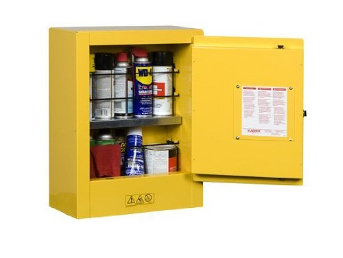 "Justrite 890200 Certain-Grip EX Galvanized Steel 1 Door Manual Flammables Mini Safety Storage Cabinet, 17"" Width x 22"" Apex x 8"" Depth, 1 Adjustable Shelf, Yellow"