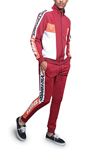 G-Style USA Men's Sport Tri Color Lettered Sleeve Outseam Track Suit ST563 - Burgundy - Medium - T9I ()