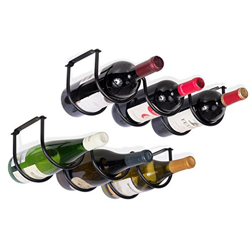 (Wallniture Under Cabinet Durable Iron Wine Storage Rack for 6 Liquor Bottles Black)