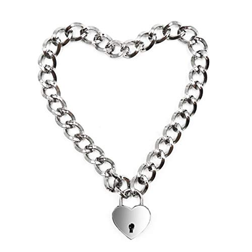 Lover Heart Padlock Necklace Metal Padlock Collar Choker for Men Women with Lock and Key 16in (B)