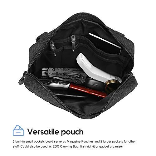 Procase Pochette Tactique Molle Militaire Homme EDC, Sacoche Portable Multifonctionnel Léger et Robuste-Noir-Grand 2