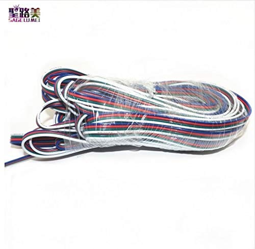 Gimax For ws2801 3528 5050 LPD8806 RGB led strip light 22awg line RGB+white or black 4Pin Extension Wire Cable Connector - (Color: 50m black)