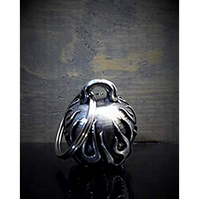 Flame Skull Motorcycle Biker Bell Accessory or Key Chain for Luck: Automotive