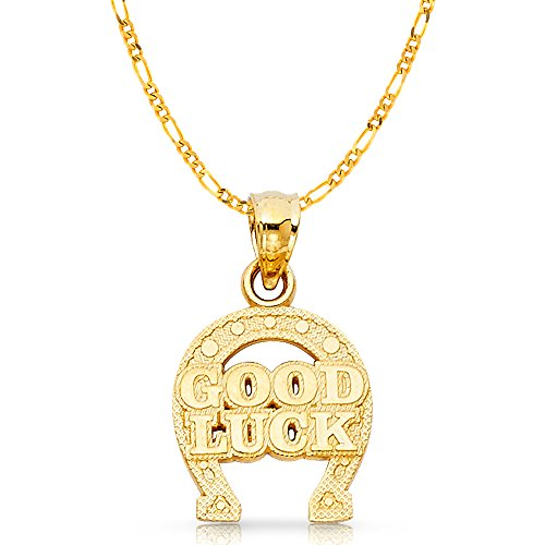 Ioka Jewelry - 14K Yellow Gold Lucky Horseshoe Charm Pendant with 2.3mm Figaro 3+1 Chain Necklace - - Chain Figaro 13mm Yellow Gold