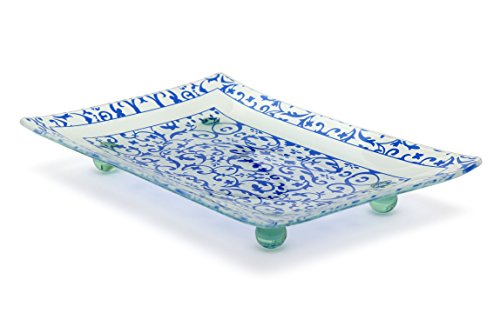 Florentine Designed Blue Tempered Glass Rectangular Serving Tray on Glass Ball Legs Break and Chip Resistant - Oven Proof - Microwave Safe Decorative Platter