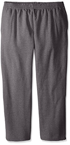 Fruit of the Loom Men's Pocketed Open-Bottom Sweatpant, Charcoal Heather, XX-Large