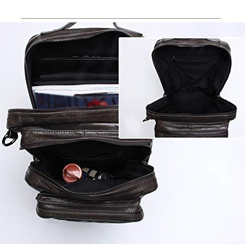 A Shiduoli De Hecha Vintage Hombre Cuero Khaki color Mano Bookbag Para Yellow Mochila Portátil Brown Computadora w8qUgYfH8