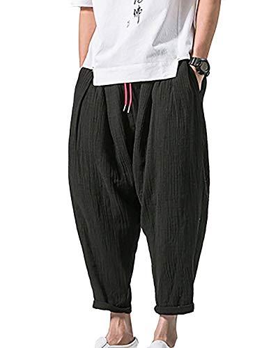 Été Simple Poches Ose Hulday En Oversize Hommes Léger Capri Style Beaucoup De Large Pantalons Confortable Décontracté Noir Pantalon Lin EvvRFWq7