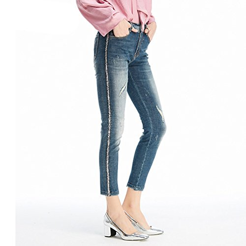 Chic ZhiYuanAN Denim Effilochs Pantalon Jeans Bleu Cropped Sequin En Pantalons Casual Crayon Dchires Femme 4q4pF