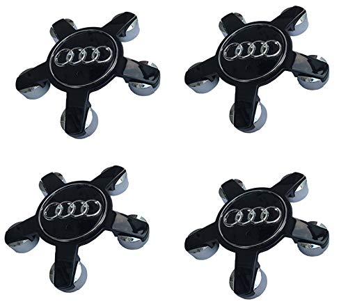 LHFACC Audi Wheel Center Hub Cap Cover Emblem Badge Black Sets 4 A3 A4 A5 A6 A7 A8 Q5 R8 S4 S5 S6 TT A3 S3 Q3 Q5