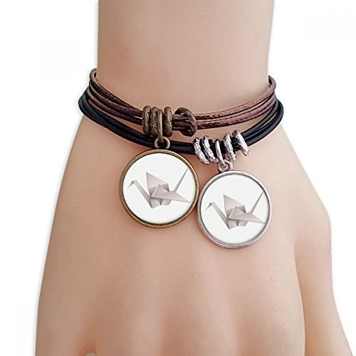 Origami Abstract Crane Pattern Bracelet Double Leather Rope Wristband Couple Set ()