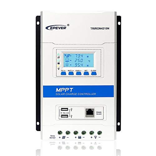 EPEVER MPPT Solarladeregler 40A 12 / 24V Auto Work max. PV 150 V Solarpanel Laderegler Regler Negative Erdung für AGM/Versiegelt/Überflutet/Gel/Lithium Batterie (TRIRON4215N)