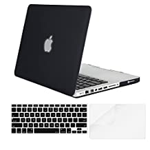 Mosiso Plastic Hard Case with Keyboard Cover with Screen Protector Only for Old MacBook Pro 13 Inch with CD-ROM (Model: A1278, Version Early 2012/2011/2010/2009/2008), Black