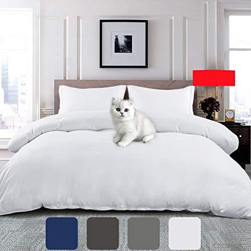EMONIA Ultra Soft Duvet Cover Queen Size 3 Pieces Set 1800 Series Zipper Closure Quilt Cover Protector (1 Duvet Cover & 2 Pillow Shams) Wrinkle Fade Resitant (NO Duvet or Pillow) (Queen, White)