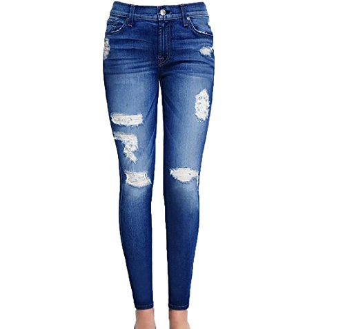 Aprilley Women's Casual Broken Hole Trousers Jeans Denim Pants As picture M