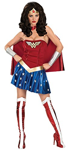 Rubie's Women's DC Comics Deluxe Wonder Woman Adult Costume and Wig Bundle, Multi, - Can Online Boots Use You Points