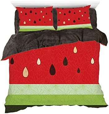 Homenon Macro Watermelon Pattern Fresh Ripe Organic Fruit Seeds Cute Artsy Illustration,3D Printed in Flannel Duvet Cover Set,Decorated on a 6ft Bed,4 Piece Bedding Set,King Size,Red Green Black