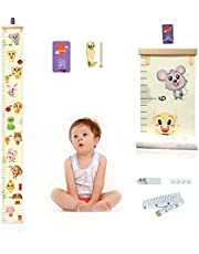"""Growth Chart for Kids,Upgrade Removable Baby Growth Chart for Wall with Marker Stickers,Hooks,Canvas Height Measuring Rulers for Boys Girls 79""""x7.9"""""""