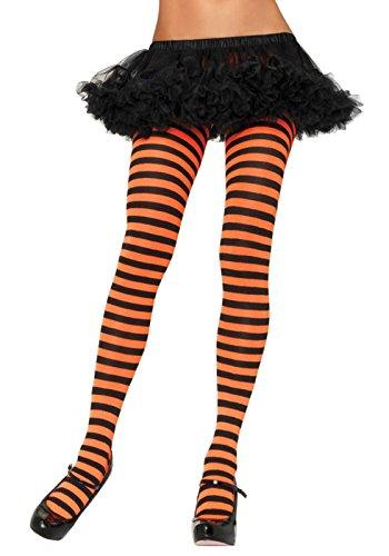 Leg Avenue Women's Nylon Striped Tights, Black/Orange, One S