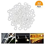 Meetory Christmas Mini Gutter Hang Hooks Weatherproof Plastic S Clip Hooks for Xmas Decoration Outside String Lights(50pcs)