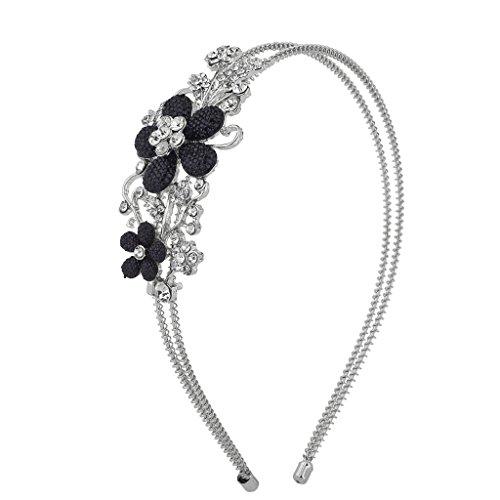 Lux Accessories SilverTone Crystal Rhinestone Black Glitter Flower Coil Headband]()