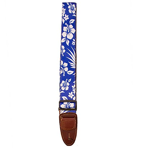 Master Strap Guitar Strap - Hawaiian Flower - Brown Leather Ends with Built In Pick Pocket - Guitar Pick Master