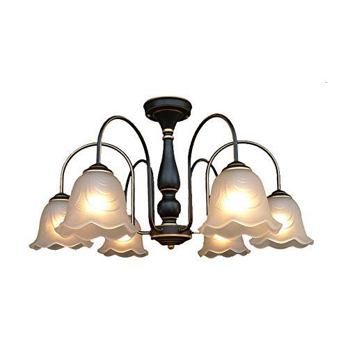 Windsor Home Deco WH-63621-6 Ceiling Lamp, Vintage Glass Metal Ceiling Lights Semi Flush Mount, 6-Light Flower Shape Chandelier