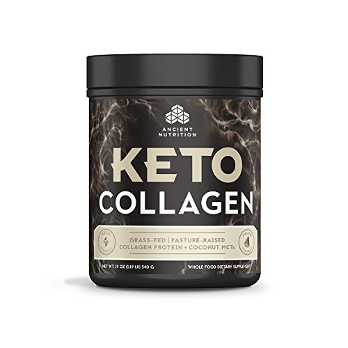 Ancient Nutrition KetoCOLLAGEN Powder, Keto Diet Supplement, Types I, II and III Collagen Plus Coconut MCTs, Pure Flavor, 30 Servings, 19 oz by Ancient Nutrition