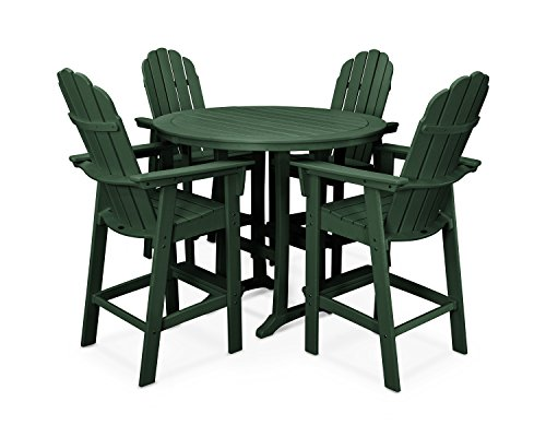 Adirondack Bar - Vineyard Adirondack 5-Piece Nautical Trestle Bar Set (Green)