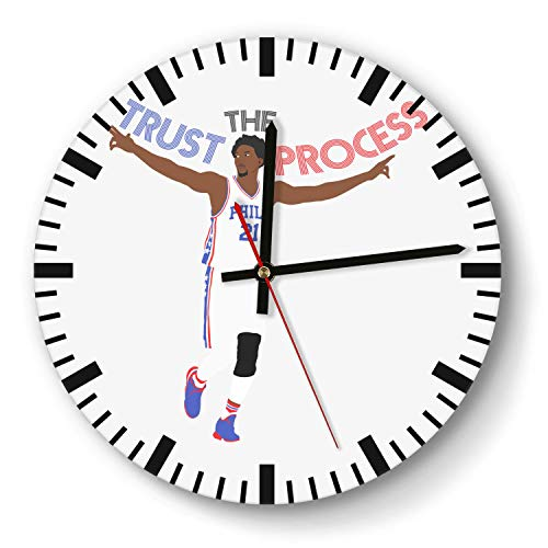 - Design Basketball Game Theme Wooden Wall Clock 11 Inch Round Acrylic Non Ticking Silent Sweep Movement Simple Battery Operated Easy to Hang Home Office School Indoor Kitchen Livingroom