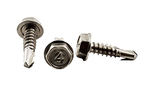 Stainless #10 X 3/4'' Tek Screw (100 pcs)) Hex Washer Head Self Drilling Sheet Metal Tek Screws With Drill Point, 410 Stainless Steel, Self Driller, 100 pieces by Chenango Supply
