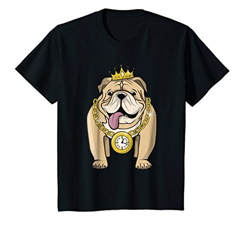 Kids Bulldog Rapper T-shirt Hip-Hop Dog Crown Gold Chain Clock 12 (Chains Dog T-shirt)