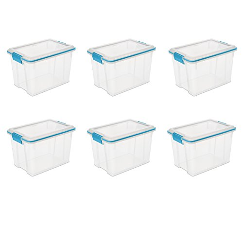 Sterilite 19324306 20 Quart/19 Liter Gasket Box, Clear with Blue Aquarium Latches and Gasket, 6-Pack (Bins File Storage)