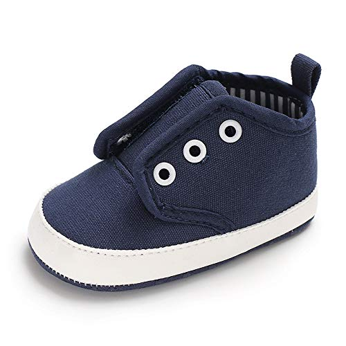 Tutoo Unisex Baby Boys Girls Soft Anti-Slip Sole Sneakers Newborn Infant First Walkers Canvas Denim Shoes (3-6 Months, F-Navy Blue) ()