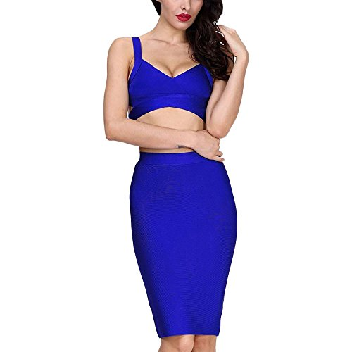 Length Pure Women 2 Color Dress HLBandage Piece Set Knee Blau Bandage 0qp7Rag