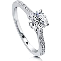 BERRICLE Rhodium Plated Sterling Silver Cubic Zirconia CZ Solitaire Promise Engagement Ring