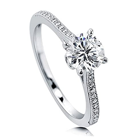 BERRICLE Rhodium Plated Sterling Silver Cubic Zirconia CZ Solitaire Promise Engagement Ring Size 4 - Sterling Silver Engagement Plated Ring