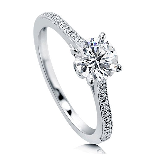 BERRICLE Rhodium Plated Sterling Silver Round Cubic Zirconia CZ Solitaire Promise Engagement Ring 1.18 CTW Size 10