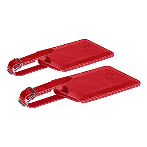 SwissElite Genuine Leather Luggage Tags & Bag Tags 2 pieces Set in 5 Color (Red)