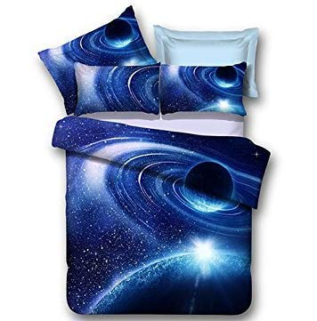 LOUHO Galaxy Bedding Sets Polyester 4 Pieces,1 Duvet Cover,1 Flat Sheet,2 Pillowcases, No Comforter (Extra Long Twin, Planet Orbit)