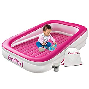 EnerPlex Kids Inflatable Toddler Travel Bed, Portable Air Mattress for Kids, Blow up Mattress with Sides – Built-in Safety Bumper - Pink 2-Year Warranty 2