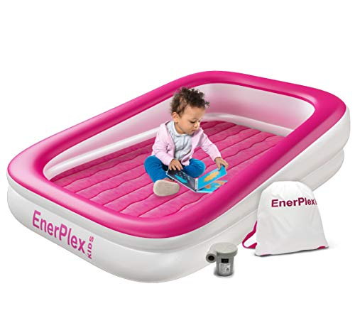 EnerPlex Kids Inflatable Toddler Travel Bed, Portable Air Mattress for Kids, Blow up Mattress with Sides – Built-in Safety Bumper - Pink 2-Year Warranty 1