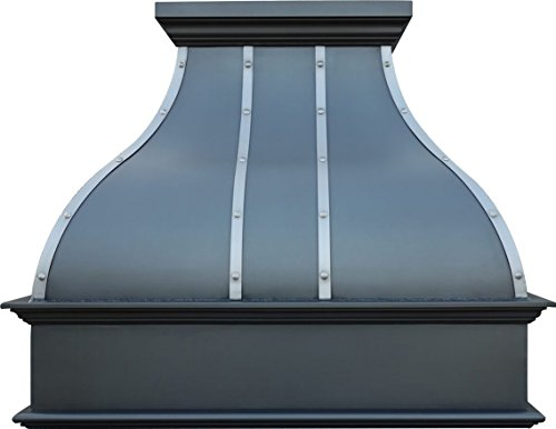 Copper Range Hood with Insert Sinda H1 332236S 33 inch Smooth Oil Rubbed Bronze Finish with Stainless Steel Strips and Rivets by Sinda
