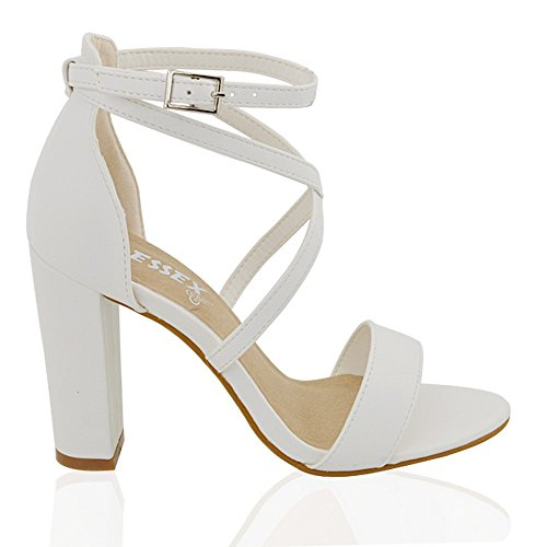 White Leather Strap Sandal (Essex Glam Womens Strappy Block Heel White Synthetic Leather Ankle Strap Sandals 9 B(M) US)