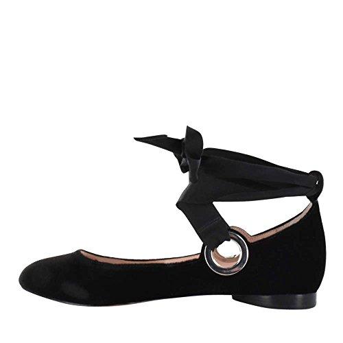 Avec Les Filles Womens Miri Closed Toe Ankle Wrap Ballet, Black Velvet, Size 6.5