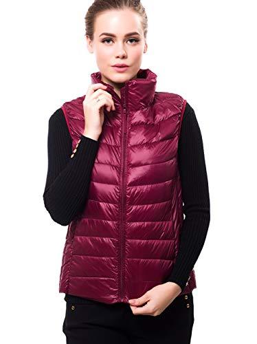 (SEFON Women's Packable Lightweight Down Vest Outdoor Outerwear Puffer Gilet Coat(Wine Red,US M/Asian XL))